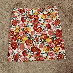 Ann Taylor Loft Floral Skirt Sz 4P